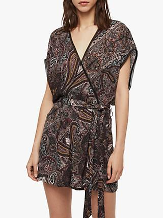 AllSaints Reid Scarf Playsuit, Purple/Multi