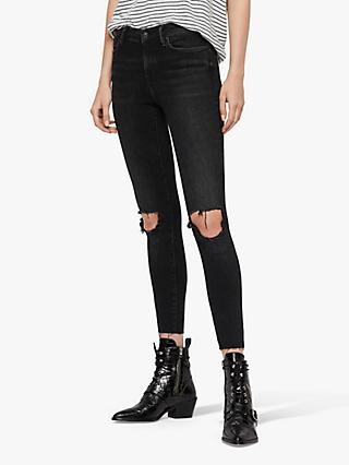 AllSaints Grace Ankle Fray Jeans, Washed Black