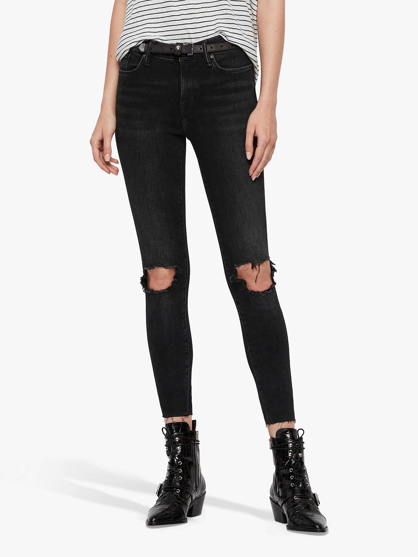 AllSaints Grace Ankle Fray Jeans, Washed Black