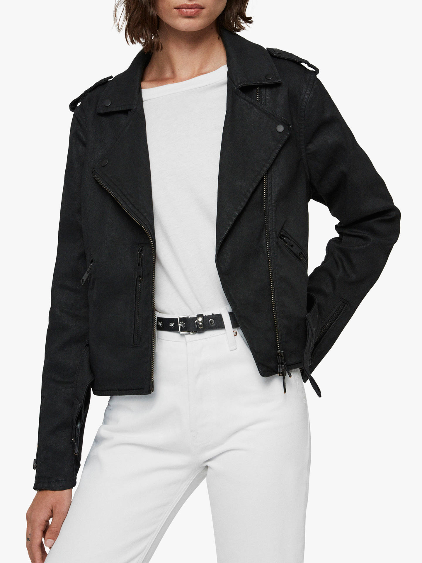 All Saints Micah Coated Denim Biker Jacket, Black by Allsaints