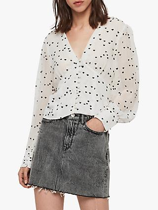 AllSaints Amalie Heart Blouse, Chalk White