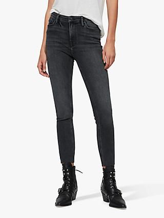 AllSaints Roxanne Cropped Ankle Jeans, Washed Black