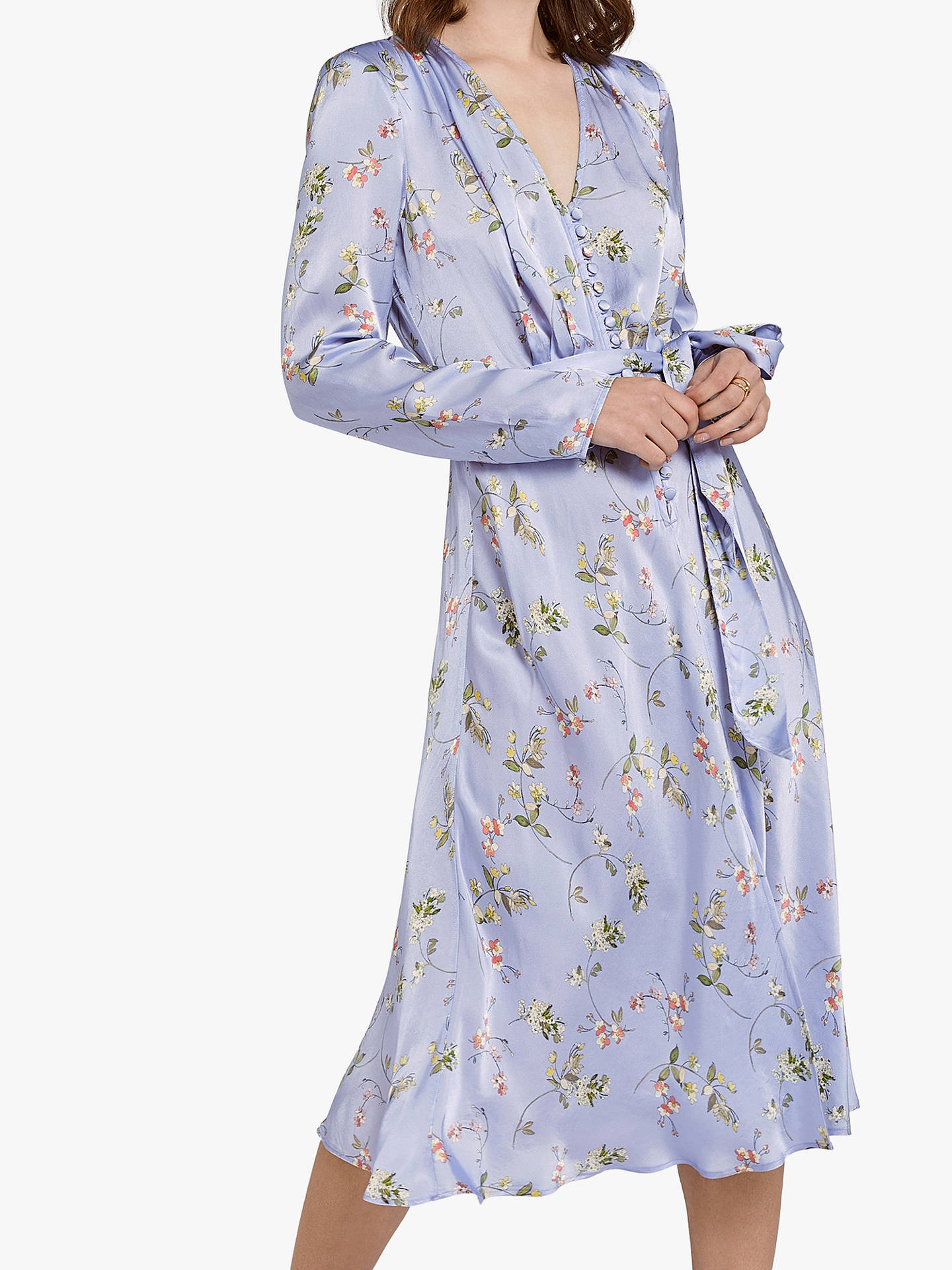 Buy Ghost Meryl Floral Wrap Tie V-Neck Dress, Swingtime Ditsy Blue, XS Online at johnlewis.com
