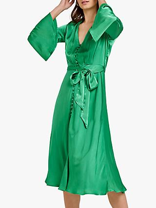 Ghost Annabelle Satin Dress, Green Essence