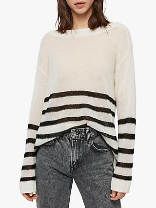 AllSaints Lune Wool Blend Jumper, Chalk White/Black