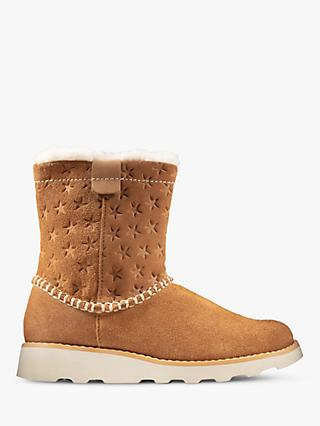 Clarks Children's Crown Piper Suede Boots, Tan