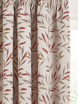 John Lewis & Partners Langley Leaf Pair Lined Pencil Pleat Curtains
