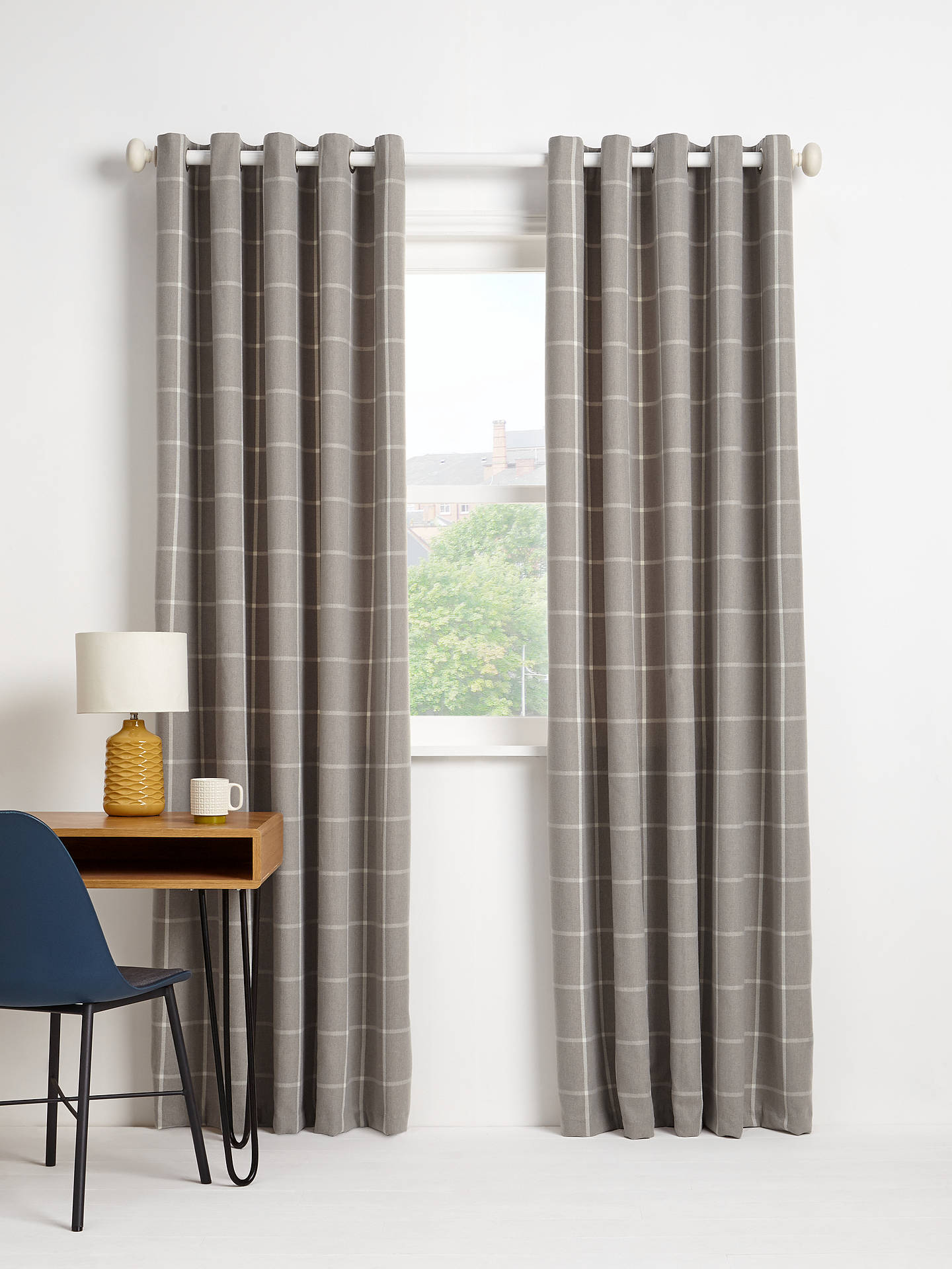 Buy John Lewis & Partners Check Pair Lined Eyelet Curtains, Grey, W228 x Drop 182cm Online at johnlewis.com