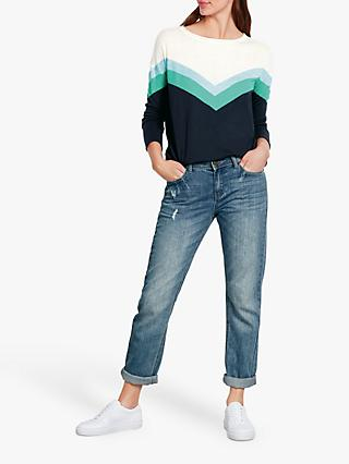 hush Willa Chevron Jumper, Egret/Multi Blues
