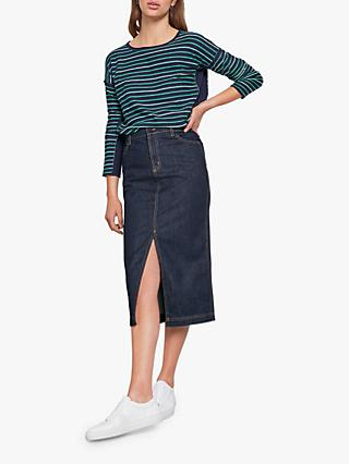 hush Denim Split Midi Skirt, Dark Rinse Wash