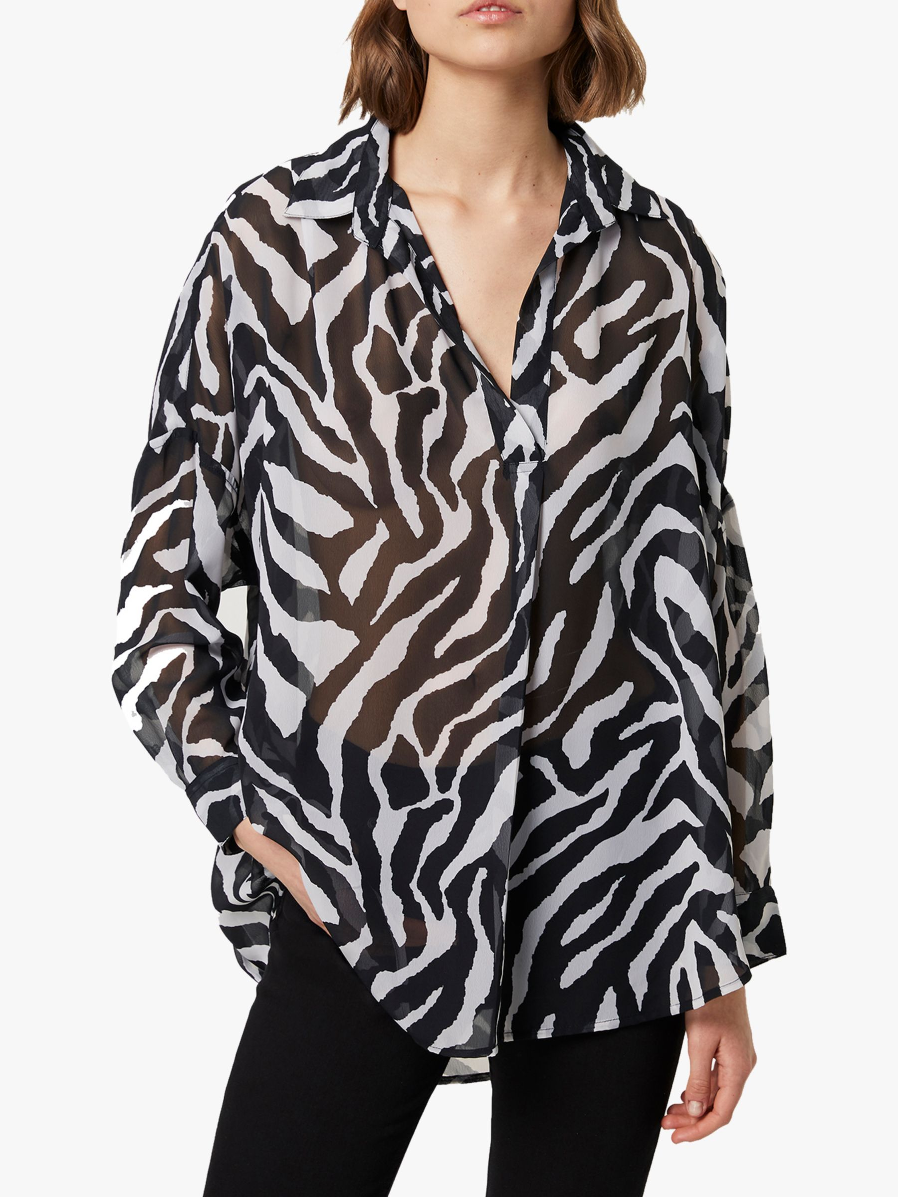 French Connection French Connection Sheer Zebra Print Shirt, Black/White