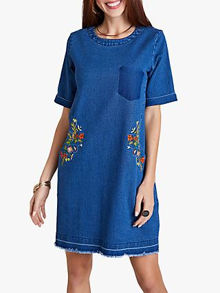 Yumi Frayed Bee Dress, Blue