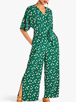 Yumi Artistic Flower Jumpsuit, Green
