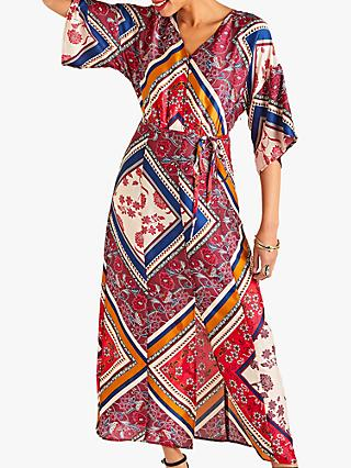 Yumi Scarf Print Dress, Red