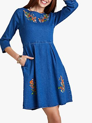 Yumi Embroidered Bee Dress, Blue