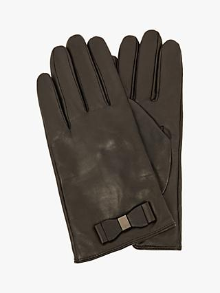 Ted Baker Bblake Bow Leather Gloves, Black