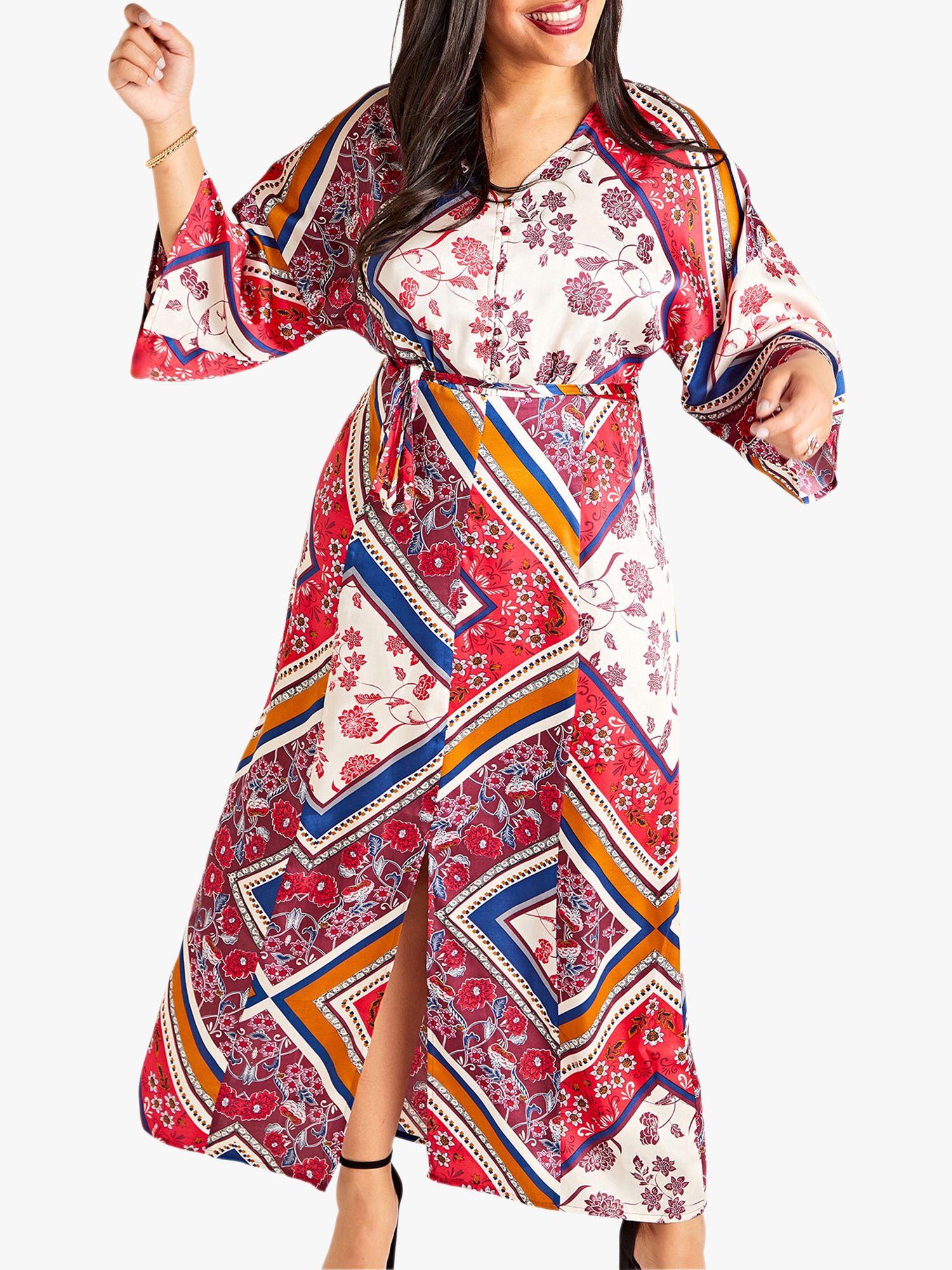 Yumi Curves Yumi Curves Scarf Print Dress, Multi