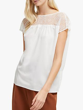 French Connection Crepe Lace Top, Winter White