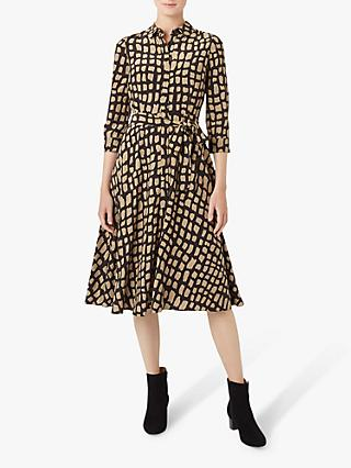Hobbs Petite Lainey Shirt Dress, Black/Camel