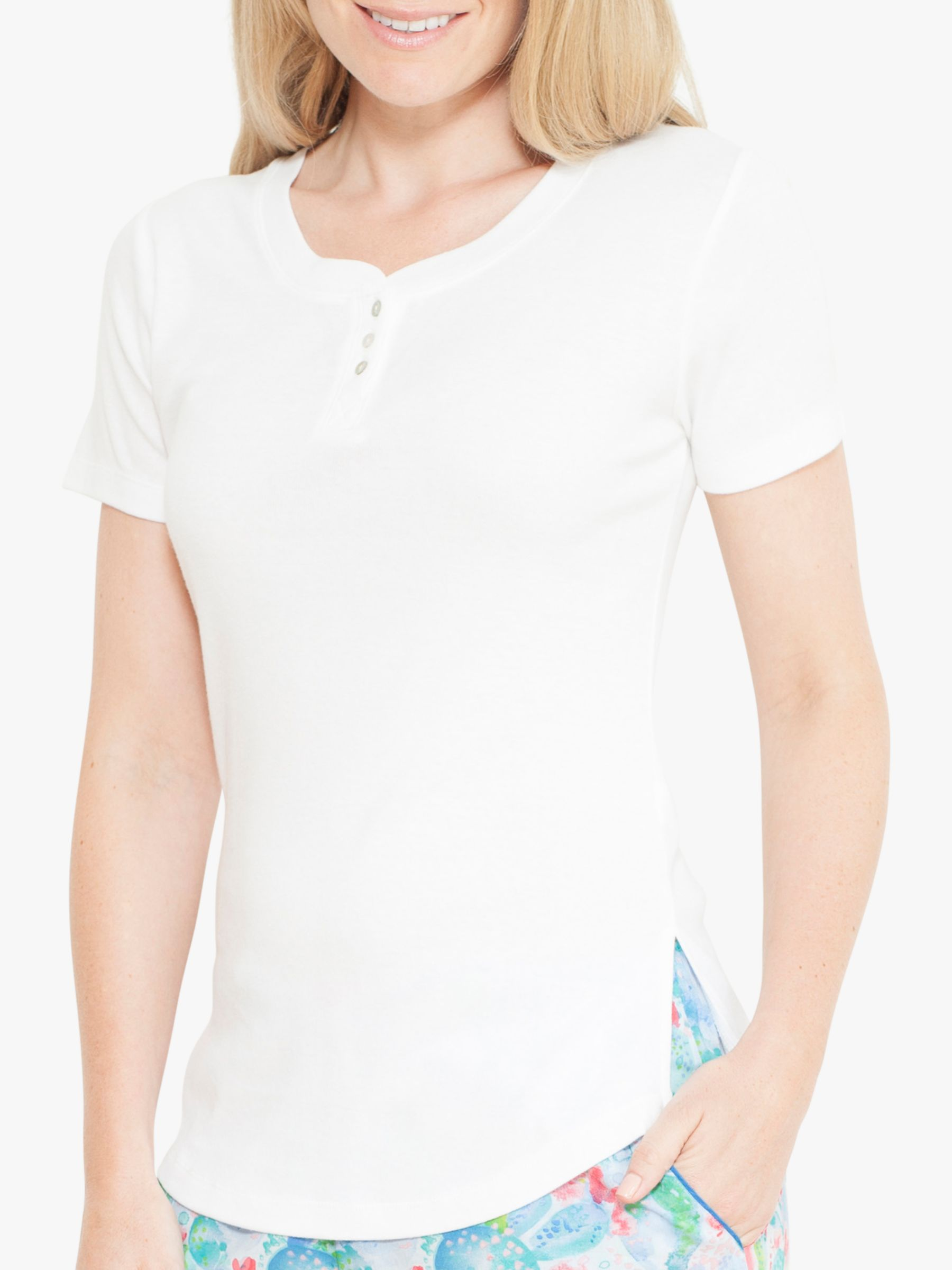 Cyberjammies Cyberjammies Darcie Placket Jersey Pyjama Top, White