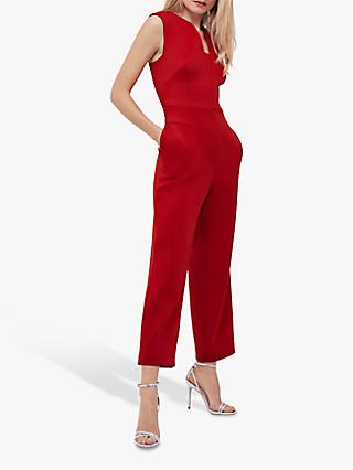 Coast Tailored Wide Leg V Neck Scuba Jumpsuit, Red