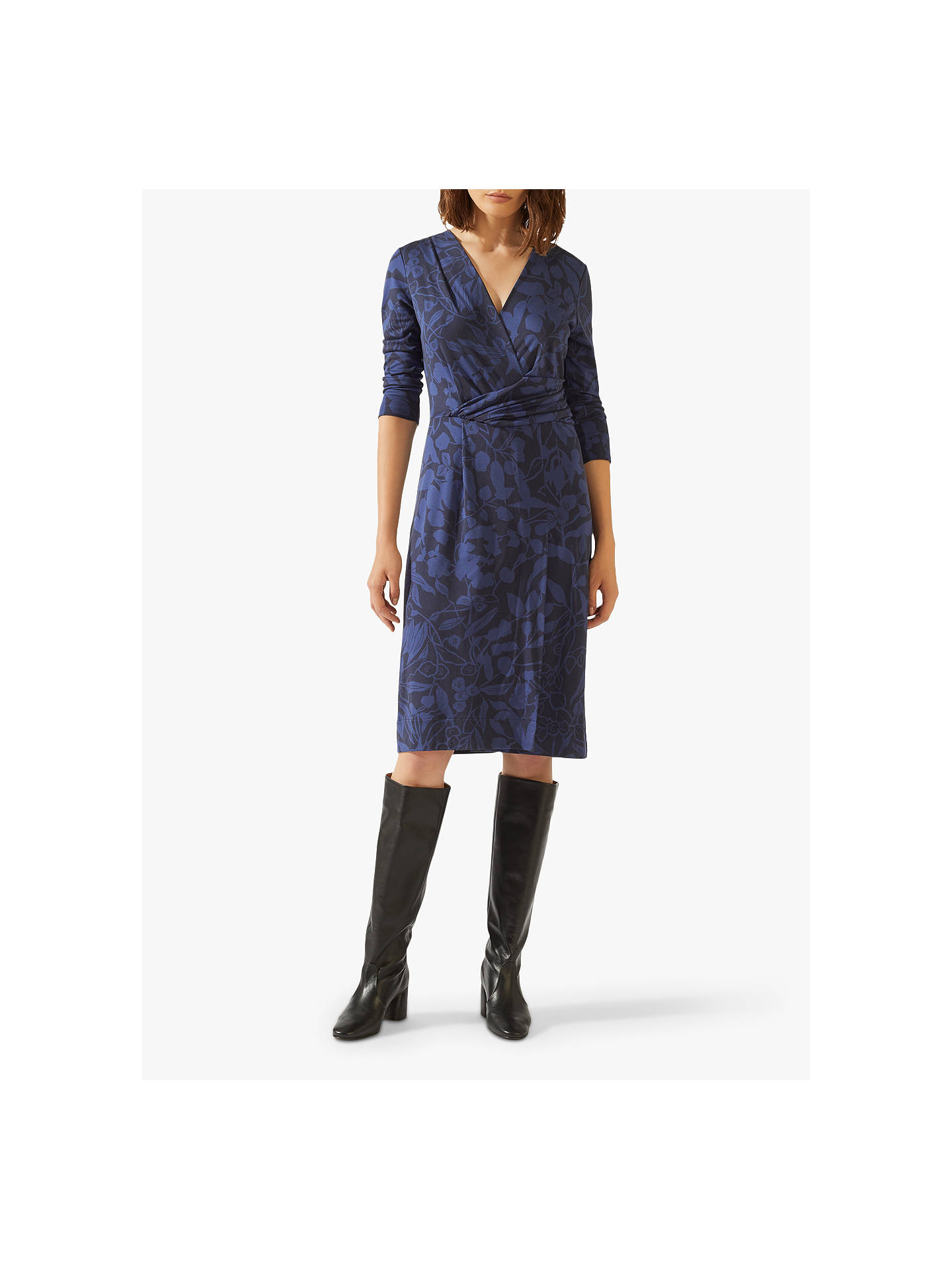 Buy Jigsaw Woodland Floral Jersey Dress, Navy, XS Online at johnlewis.com
