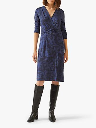 Jigsaw Woodland Floral Jersey Dress, Navy