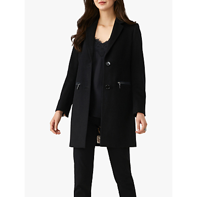Pure Collection Single Breasted Coat, Black
