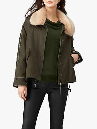 Pure Collection Faux Fur Collar Parka Jacket, Khaki