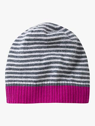 Pure Collection Striped Cashmere Beanie Hat, Grey/Multi