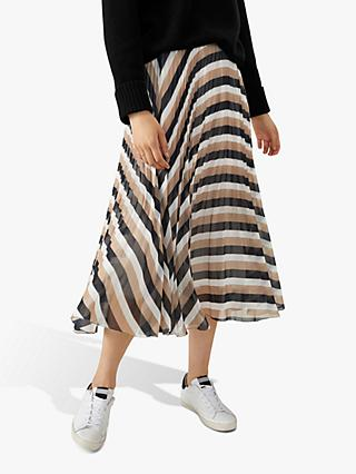 Pure Collection Pleat Midi Skirt, Camel Stripe