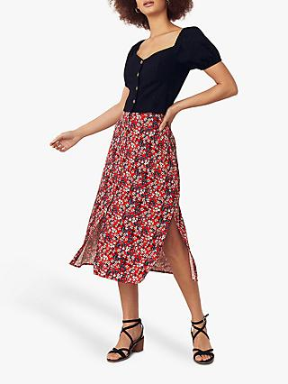 Oasis Ditsy Button Through Skirt, Multi/Red