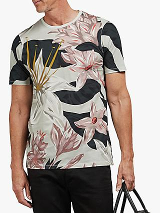 Ted Baker T for Tall Litwott Floral Print T-Shirt, Light Grey