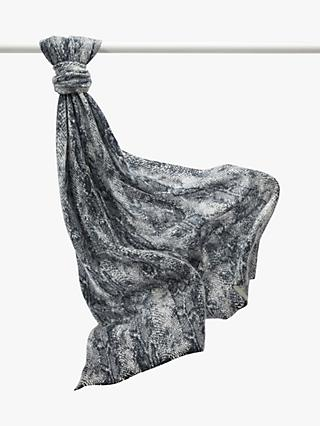 Pure Collection Cashmere Scarf, Charcoal Snakeskin