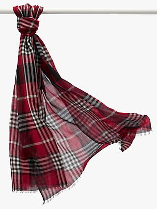 Pure Collection Soft Wool Tartan Check Scarf, Red