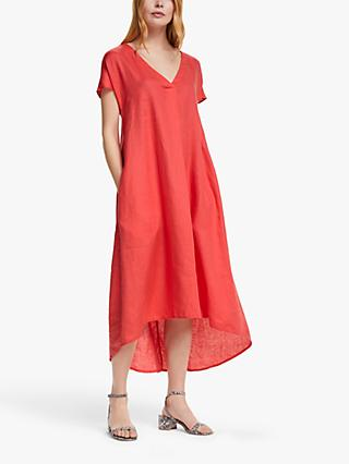 John Lewis & Partners Linen Elliptical Hem Dress, Dark Pink