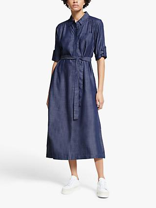 John Lewis & Partners Lyocell Shirt Dress, Dark Denim