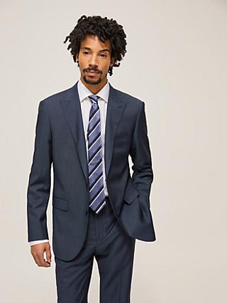 John Lewis & Partners Barberis Wool Prunelle Tailored Suit Jacket, Navy