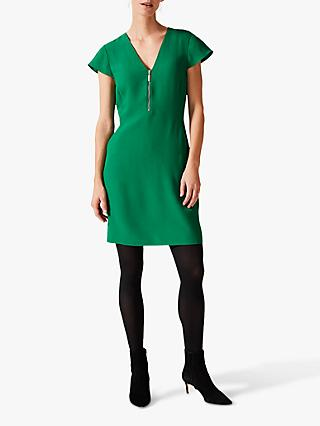 Phase Eight Victoria Zip Dress, Emerald Green