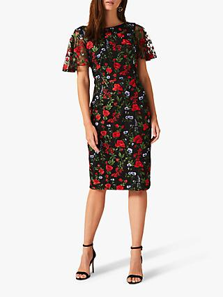 Phase Eight Dorothea Embroidered Dress, Black/Multi