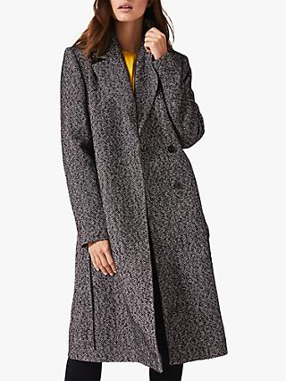 Phase Eight Tess Tweed Belted Coat, Navy/Ivory