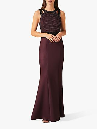 Phase Eight Sofia Beaded Full Length Dress, Port