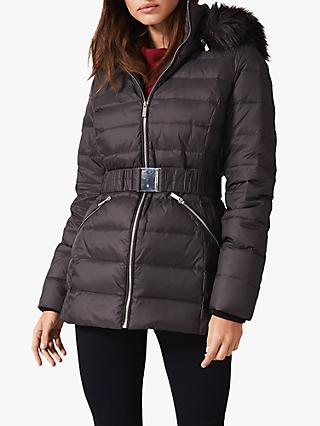 Phase Eight Hope High Neck Belted Puffer Jacket, Pewter