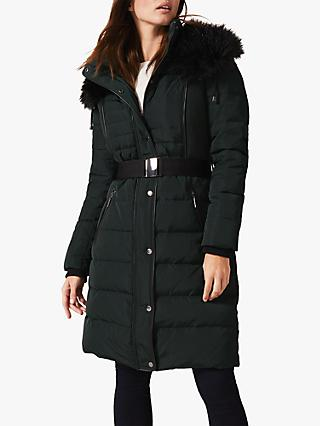 Phase Eight Brisa Side Stitch Long Puffer Jacket, Forest Green