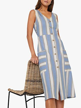Warehouse Striped Patch Pocket Midi Dress, Blue