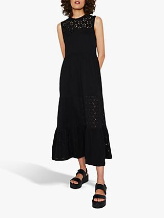 Warehouse Broderie Cotton Midi Dress, Black