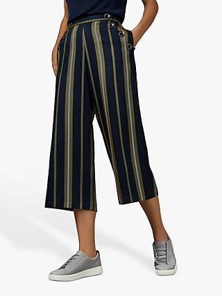 Ted Baker Basila Striped Cotton Culottes, Blue/Navy