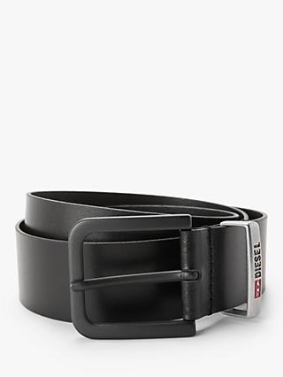 Diesel B-Castel Leather Belt with Denim Division Loop, Black