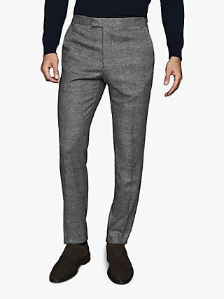 Reiss Capital Check Slim Fit Trousers, Soft Grey