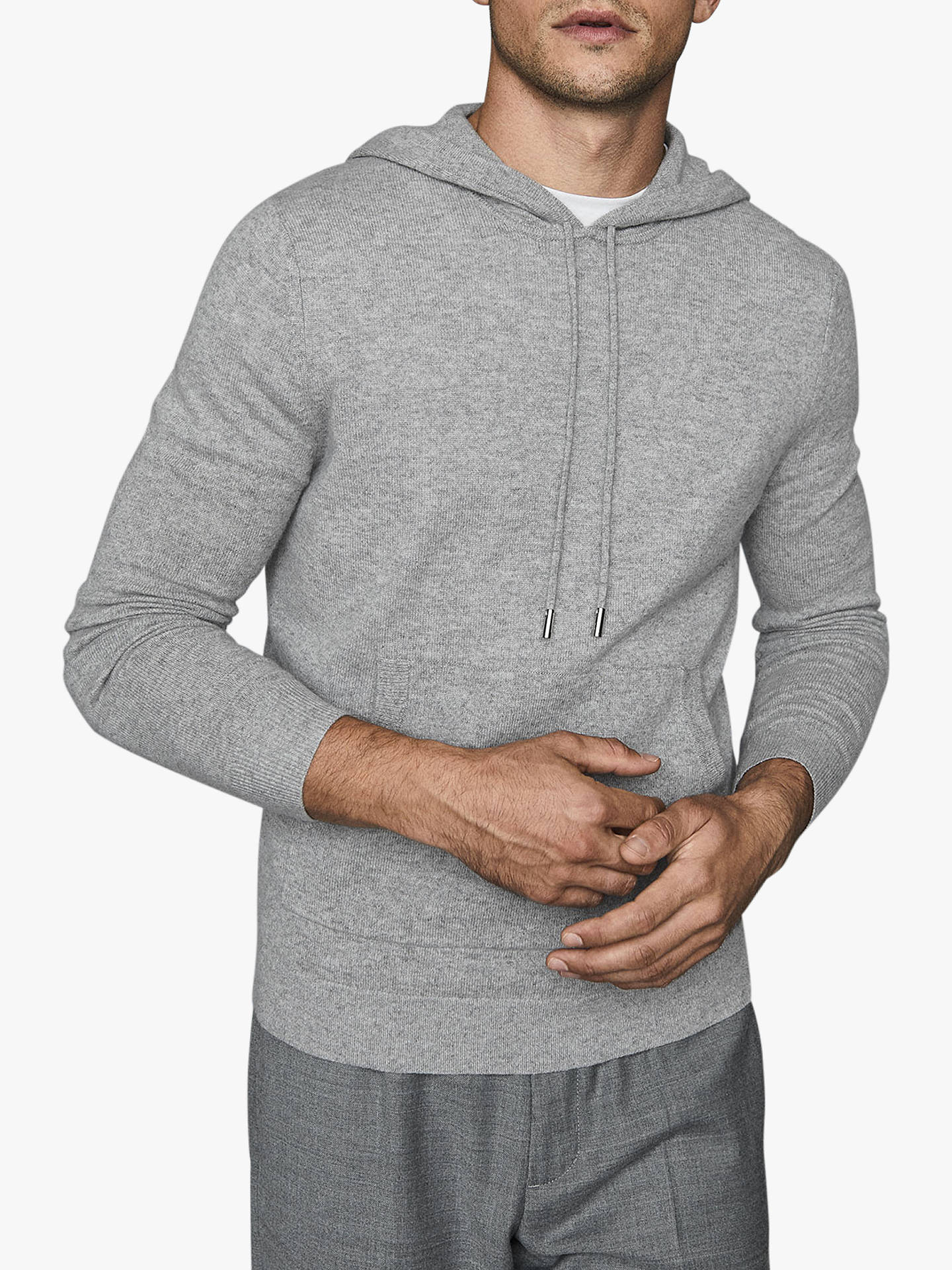 Buy Reiss Hooper Cashmere Knit Hoodie, Grey, XS Online at johnlewis.com